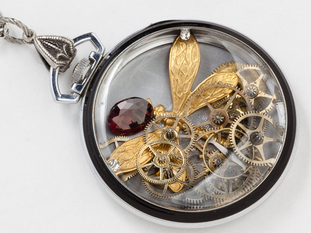 Antique Art Deco Silver Pocket Watch Case Necklace Black Enamel with Gold Dragonfly Gears Red Garnet Crystal Engraved Locket