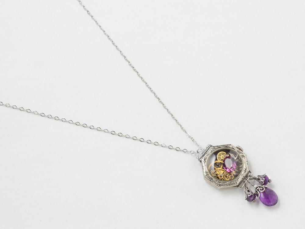 Antique Edwardian Watch Case Necklace in 14K White Gold Filled with Gears Dragonfly Charm Genuine Amethyst Pearl and Purple Crystal