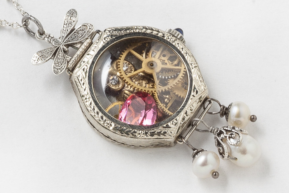 Antique Edwardian Watch Case Necklace in 14K White Gold Filled with Gears Owl Pink Tourmaline Blue Sapphire Pearl Silver Dragonfly