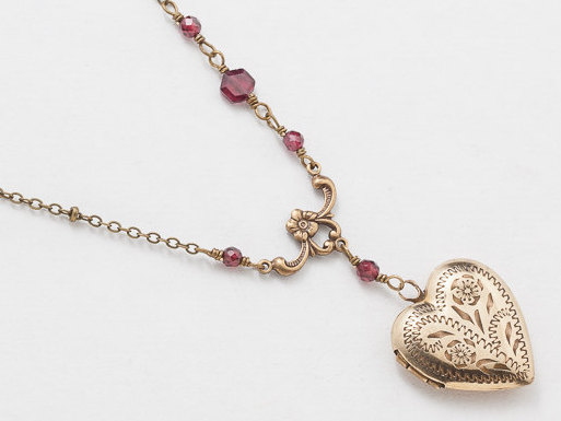Antique Gold Heart Locket Necklace Gold Filled Locket Heart Locket with Genuine Red Garnet Beads Flower Leaf Engraving Photo Locket