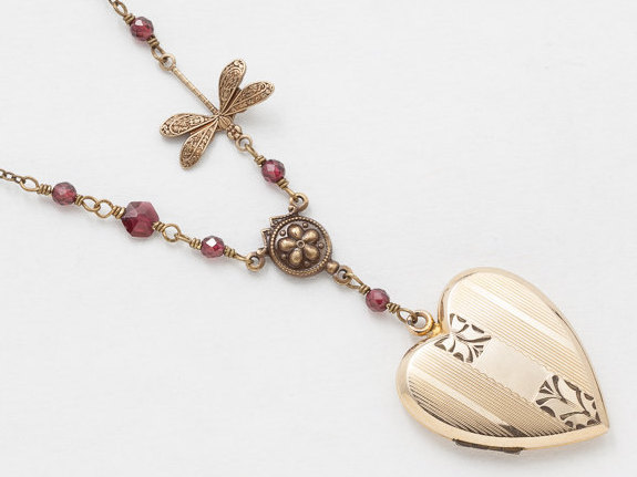 necklace engraved lockets vintage heart gold original locket