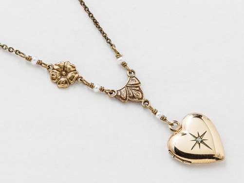 Antique Gold Heart Locket Necklace Gold Filled Locket Photo Locket Leaf and Flower with Genuine Diamond Pearls Photo Locket