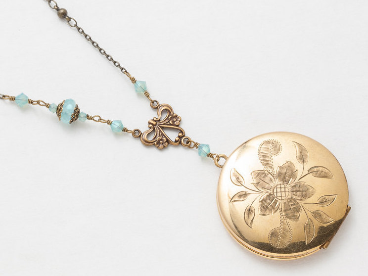 Antique Gold Locket Necklace Gold Filled Locket Locket Pendant with Genuine Aquamarine Agate Blue Crystal Photo Locket Jewelry