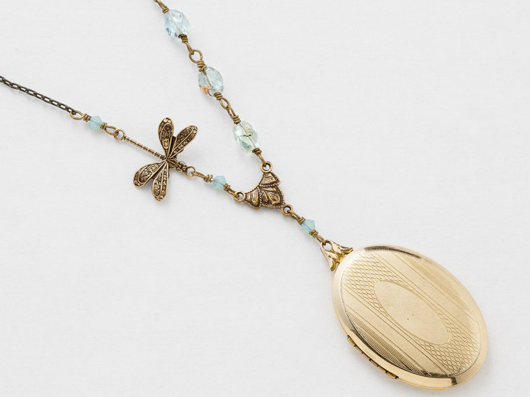 Antique Gold Locket Necklace Gold Filled Locket Locket Pendant with Genuine Aquamarine Blue Crystal Dragonfly Photo Locket
