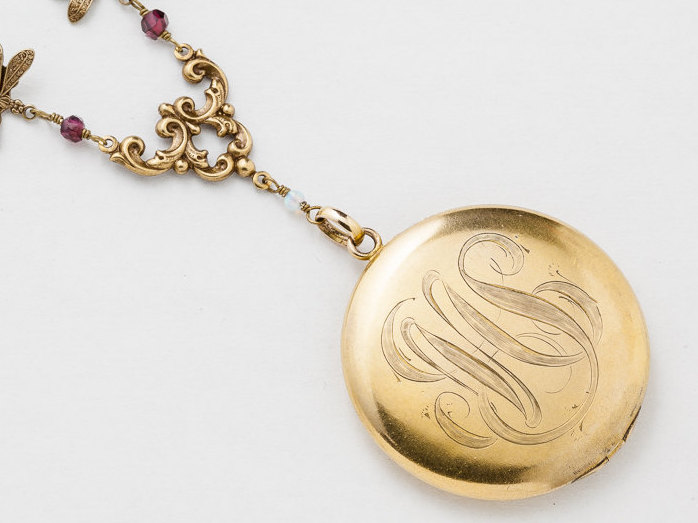 Antique gold locket necklace gold filled locket locket pendant with antique gold locket necklace gold filled locket locket pendant with genuine garnet opal dragonfly charm photo locket jewelry aloadofball Images