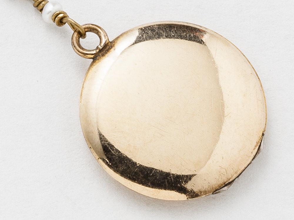 Antique Gold Locket Necklace Gold Filled Locket Locket Pendant with Opal Beads Genuine Pearls Bird Charm Photo Locket