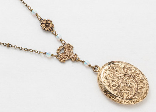 Antique Gold Locket Necklace Gold Filled Locket Locket with Opal Beads Filigree Flower Charm Photo Locket Pendant Wedding
