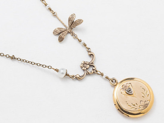 Antique Gold Locket Necklace Gold Filled Locket Photo Locket Leaf and Flower Engraved with Genuine Pearls Diamond Dragonfly