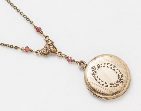 Antique Gold Locket Necklace Gold Filled Locket Photo Locket Scroll Engraved with Genuine Rhodalite Garnet Leaf Motif