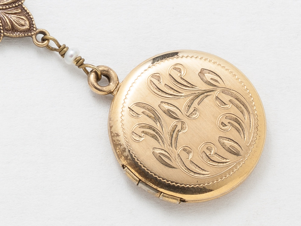Antique Gold Locket Necklace Gold Filled Locket Photo Locket Scroll Leaf Engraved with Genuine Pearls and Flower Charm