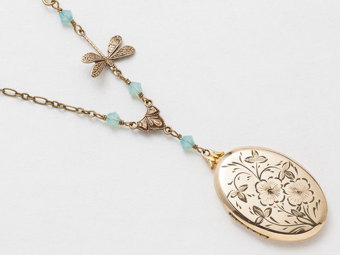 Antique Gold Locket Necklace Gold Filled Locket with Aquamarine Labradorite Blue Crystal Dragonfly Leaf Flower Etched Locket