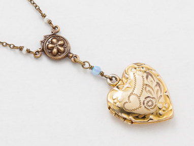 Antique Gold Locket Necklace Repousse Heart Locket Gold Filled Locket with Genuine Pearl Opal Leaf Flower Etched Photo locket