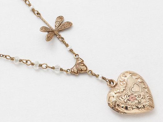 Antique Gold Locket Necklace Repousse Heart Locket Gold Filled Locket with Genuine Pearls and Moonstone Dragonfly Charm Flower Etched