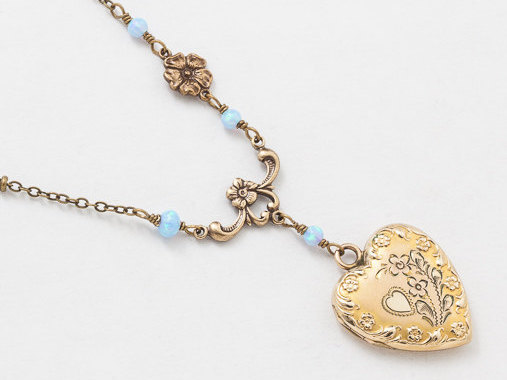 Antique Gold Locket Necklace Repousse Heart Locket Gold Filled Locket with Opal and Flower Charm Leaf Etched Photo locket Jewelry