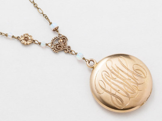 Antique Gold Locket Necklace Victorian Gold Filled Locket with White Opal Filigree and Flower Charm Photo Locket Jewelry