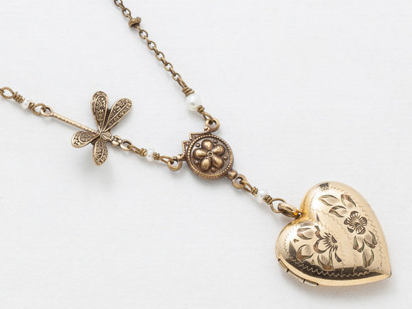 Antique Heart Locket Gold Filled Locket Heart Locket Necklace with Genuine Pearls Dragonfly Charm Flower Engraved Photo Locket
