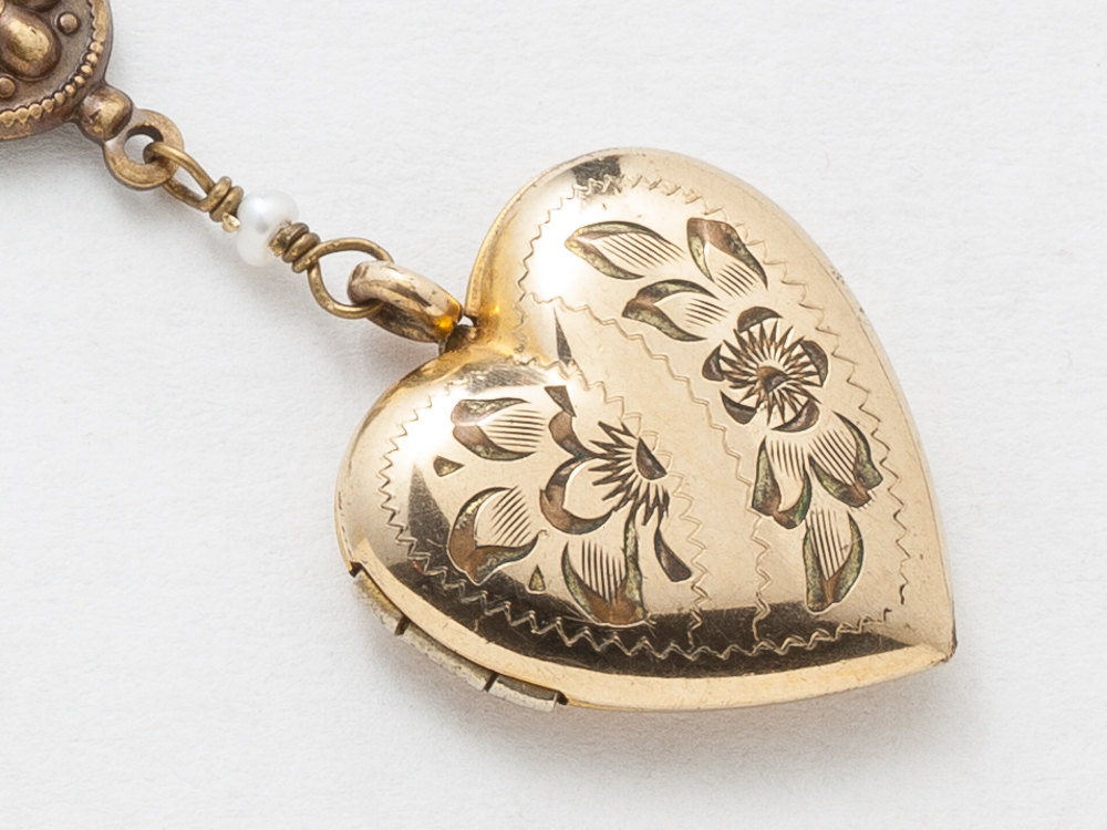 heart gold original vintage locket engraved necklace lockets