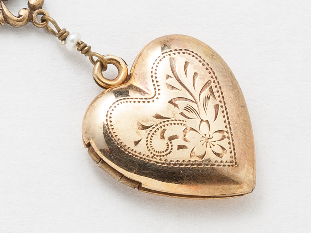 Antique Heart Locket Necklace Gold Filled Locket Photo Locket Leaf Flower Etched with Pearls Sterling Silver Heart