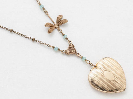 Antique Locket Gold Filled Locket Heart Locket Necklace with Blue Opal Crystal Dragonfly Charm Photo Locket Pendant Jewelry