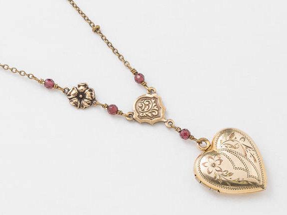 4da6a8ee0 Antique Locket Gold Heart Necklace Gold Filled Locket Heart Locket with  Genuine Red Garnet Flower Charm Leaf Engraving Photo Locket