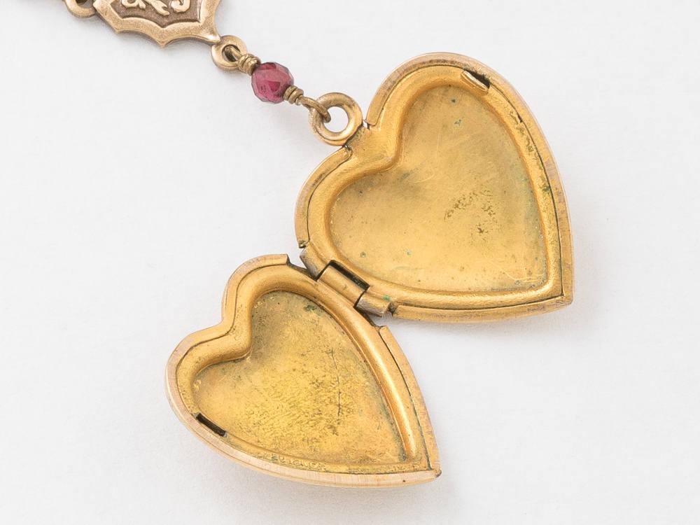 Antique Locket Gold Heart Necklace Gold Filled Locket Heart Locket with Genuine Red Garnet Flower Charm Leaf Engraving Photo Locket