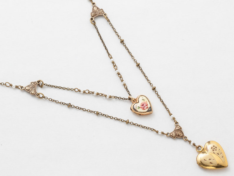 Antique Locket Necklace Gold Filled Locket Heart Locket Necklace with Genuine Pearls Enamel Leaf Flower Engraved Photo Locket