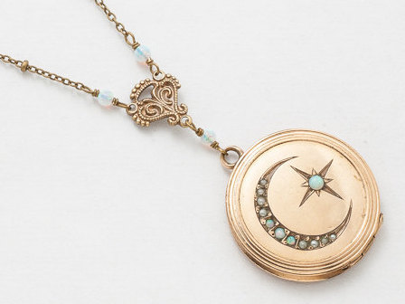 Antique Locket Necklace Gold Filled Locket Locket Pendant with Genuine Pearls Opal Crescent Moon Star Victorian Photo Locket