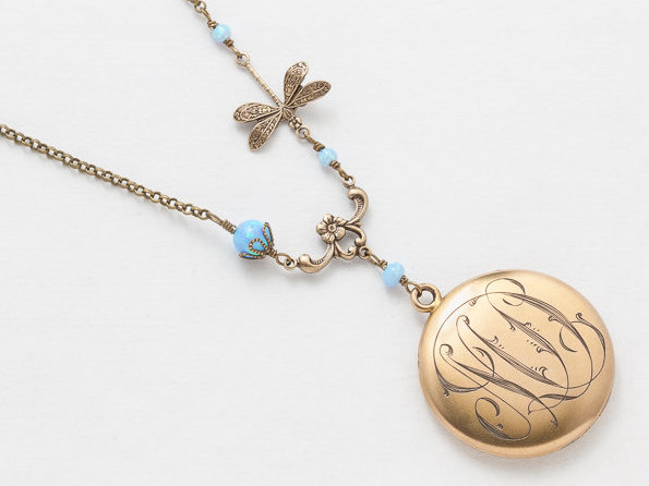 Antique Locket Necklace Gold Filled Locket Victorian Locket Pendant with Blue Opal Beads Dragonfly Charm Filigree Photo Locket