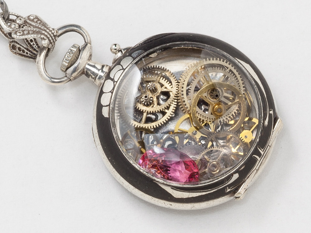 Antique Pocket Watch Case Necklace Art Nouveau Neillo Watch Pendant in Sterling Silver with Leaf Etching Pink Crystal Heart Charm Locket