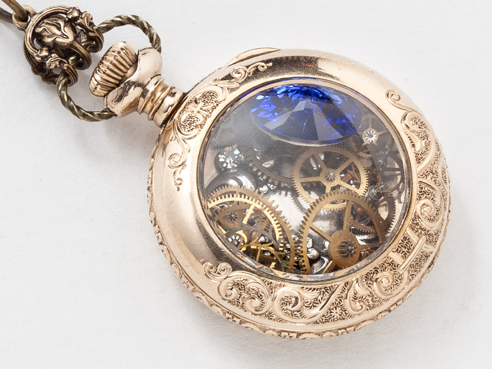 Antique Pocket Watch Case Necklace in 14k Gold Filled with Flower Etching Gears Silver Heart Charm Blue Sapphire Crystal Locket