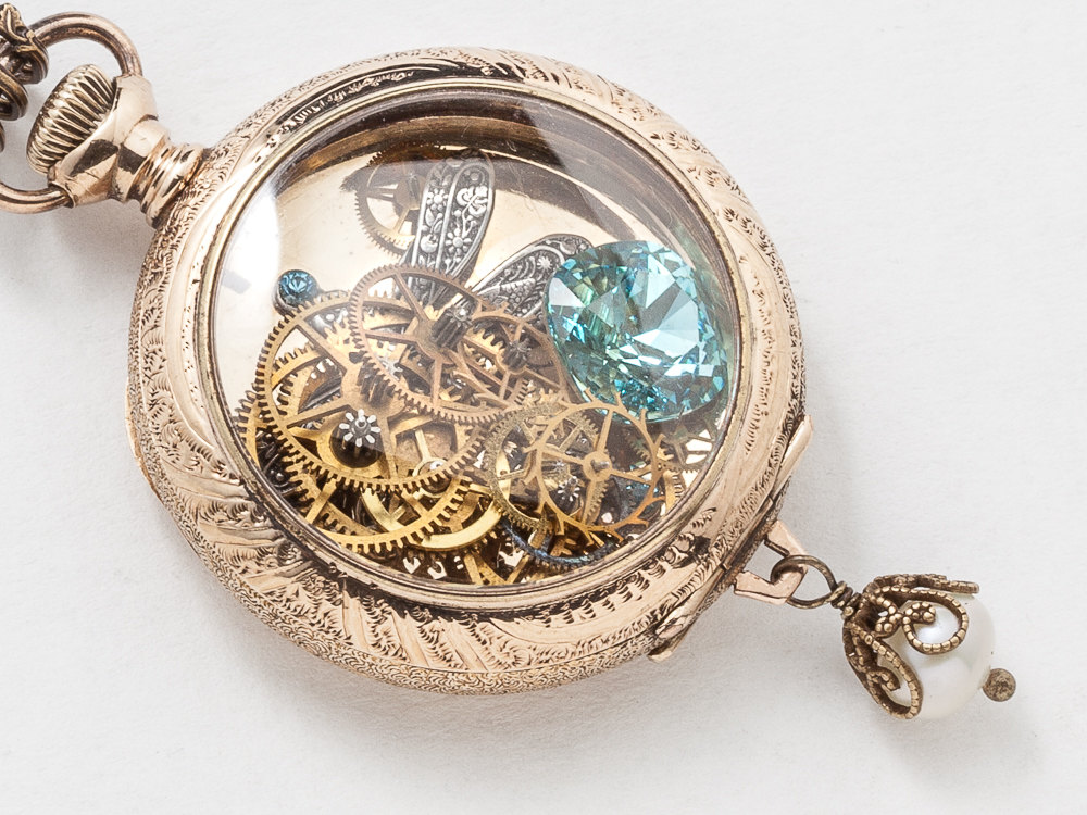 Antique Pocket Watch Case Necklace in 14k Gold Filled with Leaf Etching Gears Silver Dragonfly Blue Aquamarine Victorian Locket