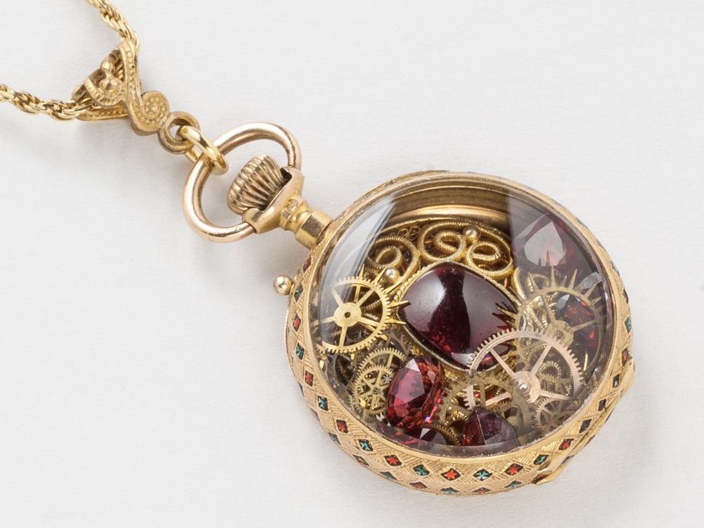 Antique Pocket Watch Case Necklace in Solid 18K Gold with Genuine Garnet Gears Green Red Enamel Victorian Locket Pendant Jewelry