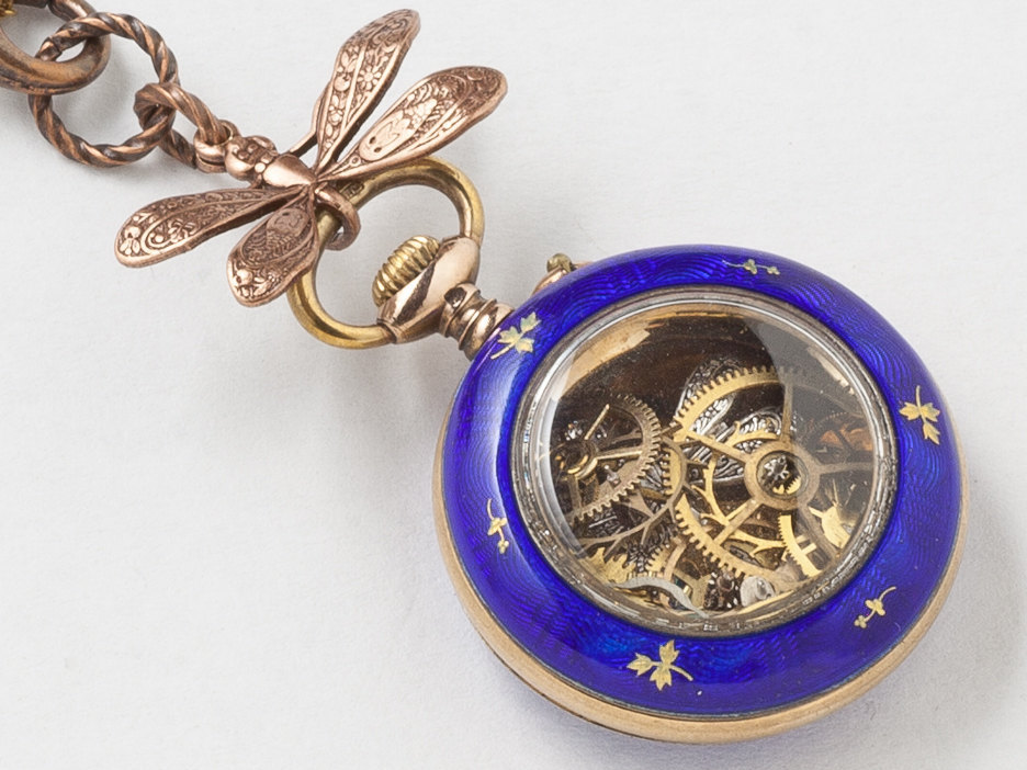 Antique Pocket Watch Case Necklace in Sterling Silver Rose Gold with Blue Enamel Black Opal Gears and Dragonfly Victorian Locket
