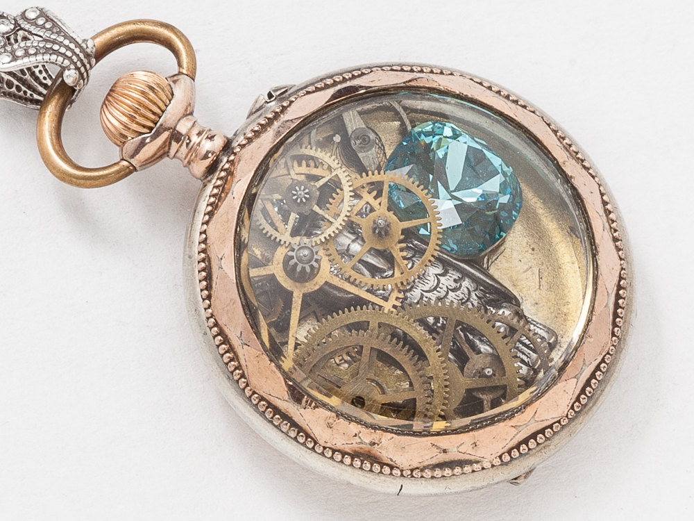 Antique Pocket Watch Case Necklace in Sterling Silver Rose Gold with Gears Blue Topaz Crystal Filigree and Owl Steampunk Locket