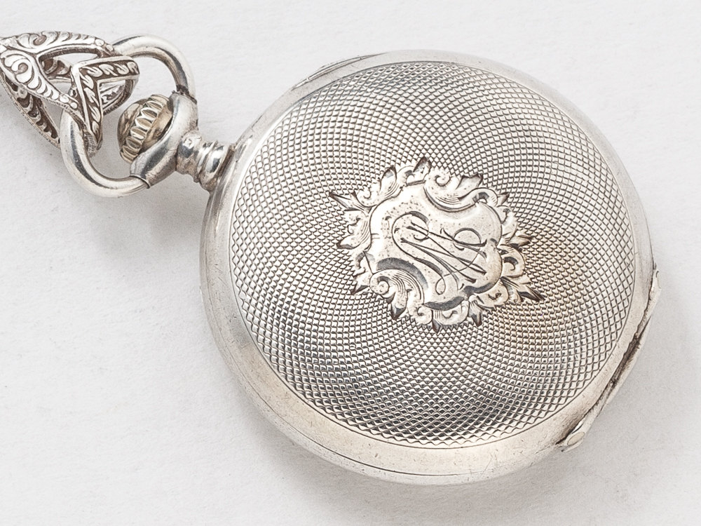 Antique Pocket Watch Case Necklace in Sterling Silver with Gears Wheels Opal Gold Dragonfly Pendant Swarovski Crystal Victorian Locket