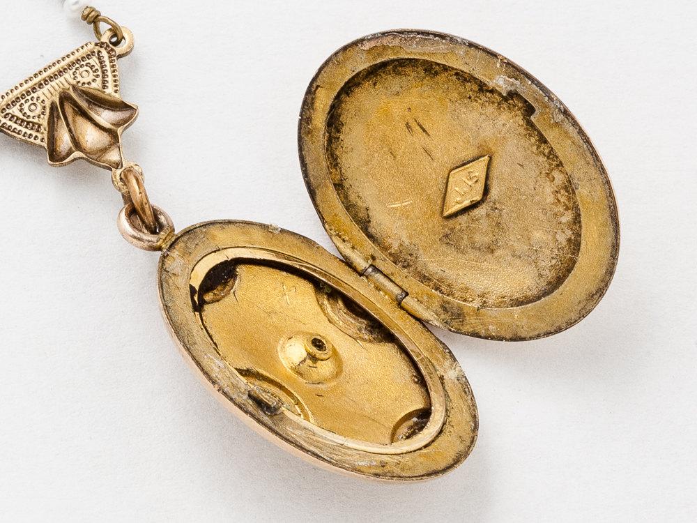 Antique Rose Gold Locket Art Deco Locket Necklace Gold Filled Locket with Genuine Pearl Paste Stone Bird Charm Photo Locket Jewelry