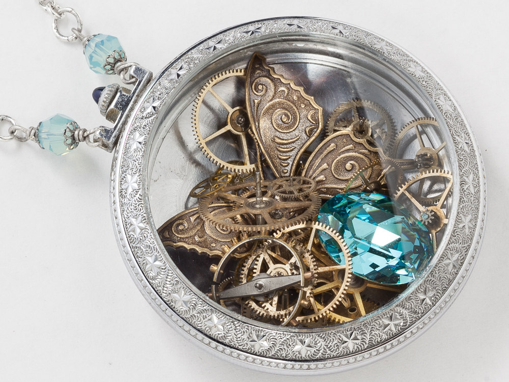 Antique Silver Pocket Watch Case Necklace With Gold Butterfly Gears Blue Sapphire And Aquamarine