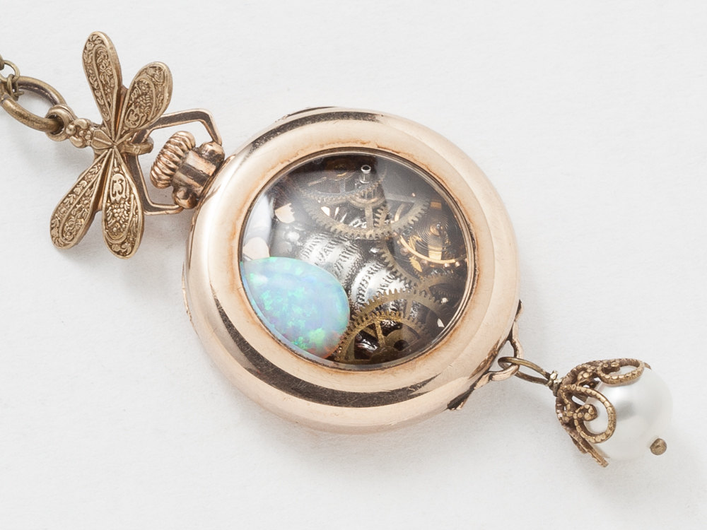 Antique Watch Case Necklace in 14k Gold Filled with Dragonfly Gears Cogs Silver Bumble Bee Charm Pearl Opal Locket