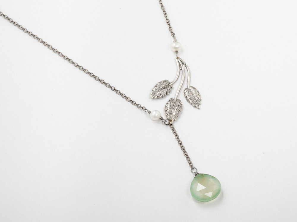 Antiqued silver lariat leaf necklace with pearls green chalcedony antiqued silver lariat necklace leaf pearls green chalcedony briolette dangle drop pendant wedding jewelry aloadofball Images