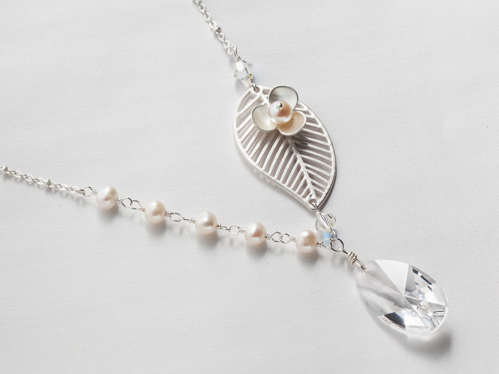 Asymmetrical necklace with silver leaf flower and genuine pearls ...