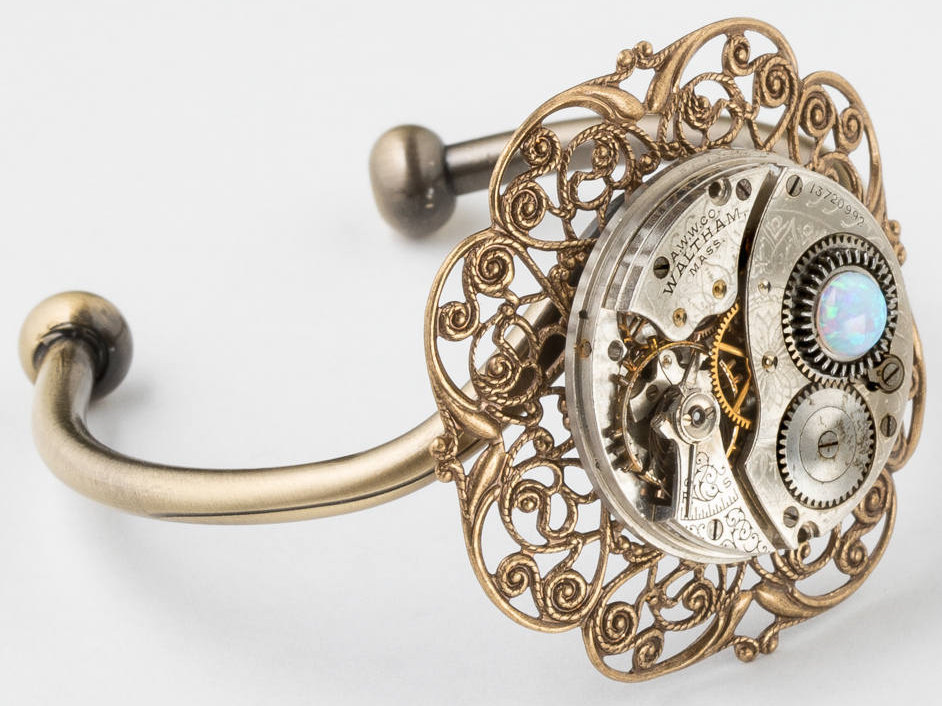 Cuff Bracelet Steampunk Bracelet with Silver Waltham Pocket Watch Movement and White Opal on Gold Filigree Steampunk Jewelry