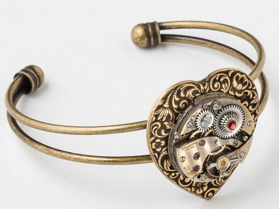 Cuff Bracelet Steampunk Jewelry Heart With Antique Silver Watch Movement Ruby Jewels Red Crystal Set In Gear Womens