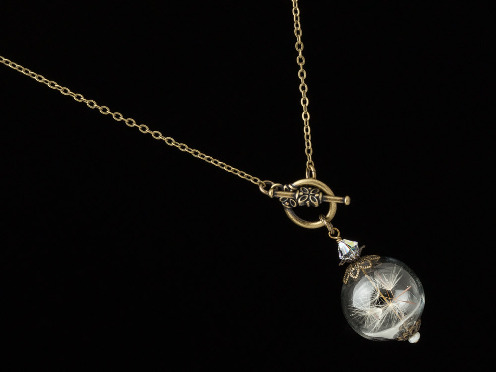 Dandelion Necklace Dandelion Seed Glass Orb Wish Necklace Terrarium