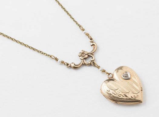 locket in pendant jewelry pearls and flower necklace genuine leaf with diamond filled heart gold etched