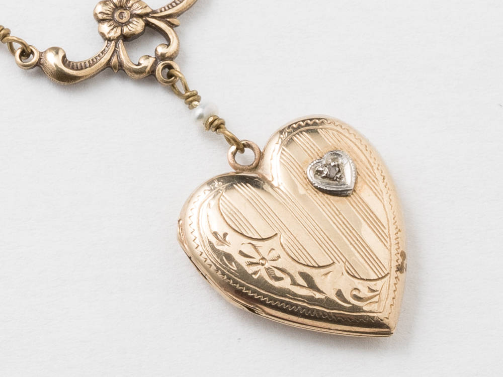 Heart Locket Locket Necklace in Gold Filled with Genuine Diamond Pearls Flower and Leaf Etched Heart Pendant Jewelry