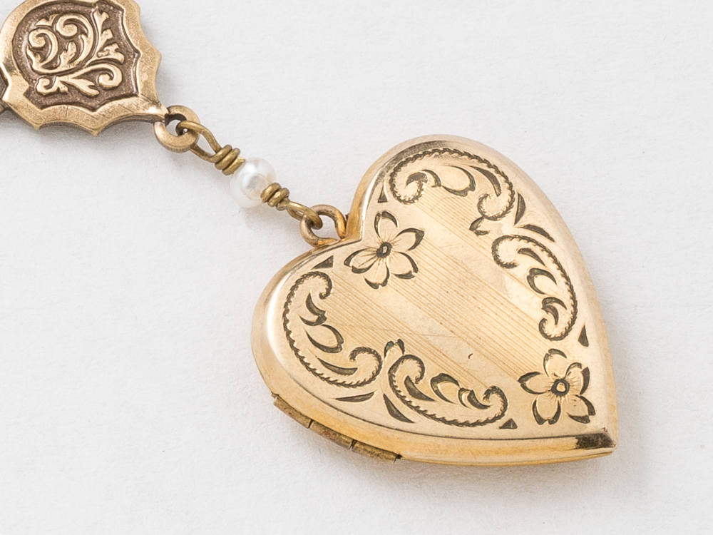 Heart Locket Locket Necklace in Gold Filled with Genuine Pearls Dragonfly Charm Flower and Leaf Etched Jewelry Wedding