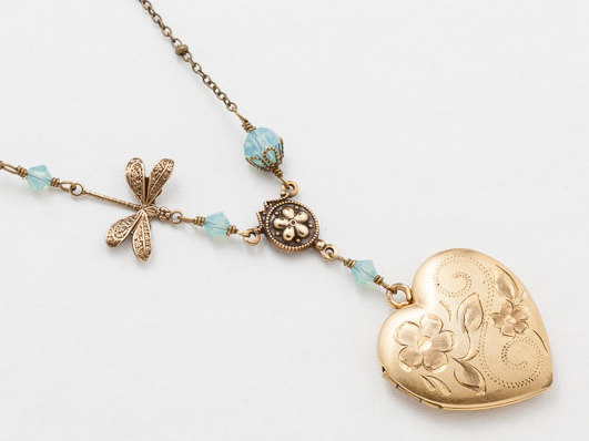 Heart Locket Necklace Heart Locket in Gold Filled with Blue Opal Crystal Dragonfly Charm Flower Etched Photo Locket Jewelry
