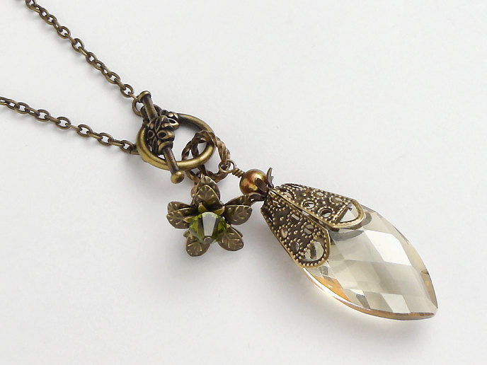 Neo victorian antiqued gold necklace genuine pearl citrine yellow neo victorian antiqued gold necklace genuine pearl citrine yellow marquise glass flower swarovski crystal pendant aloadofball Choice Image