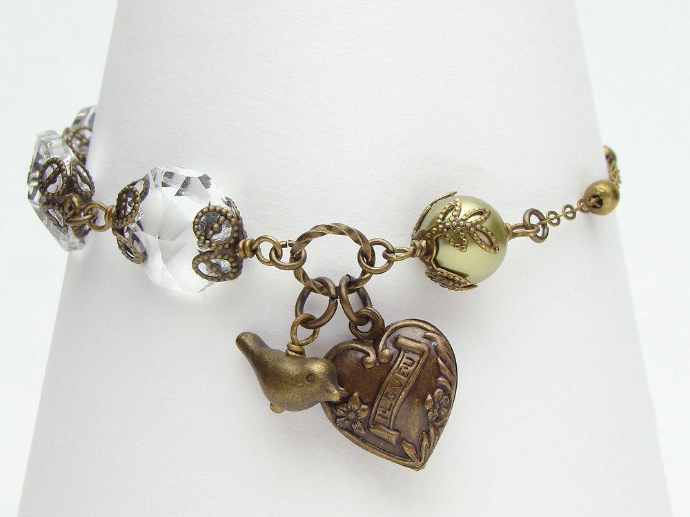 Neo Victorian Charm Bracelet bird heart gold brass chandelier ...