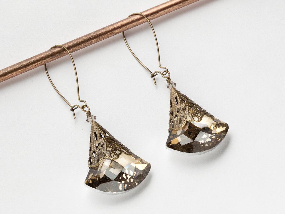 Neo Victorian Drop Dangle Earrings Gold Filigree Smokey Topaz Champagne Swarovski Crystal Steampunk Jewelry